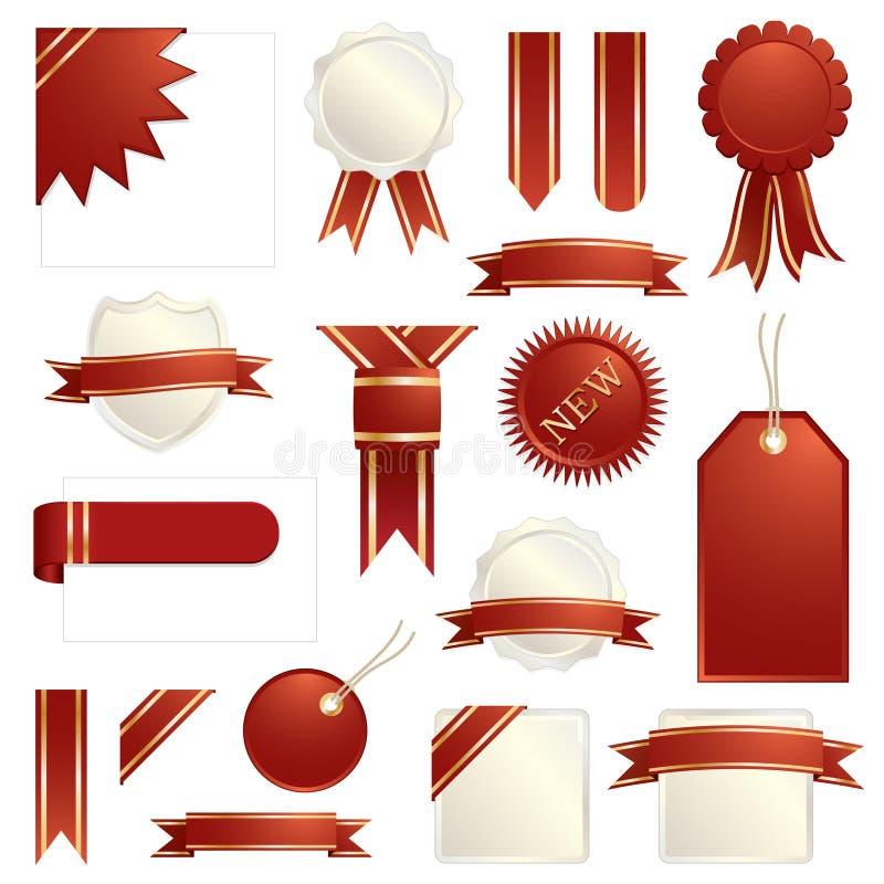 Vermelho e fitas e abas do ouro ilustração royalty free
