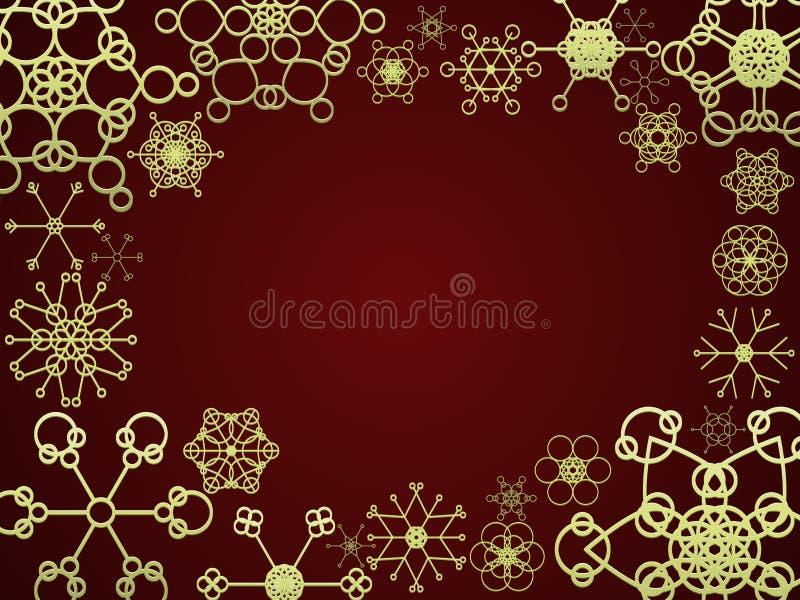 Vermelho e frame da neve do ouro ilustração royalty free