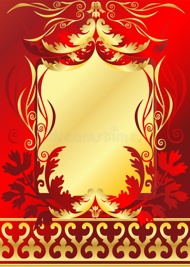 Vermelho e frame do ouro ilustração royalty free