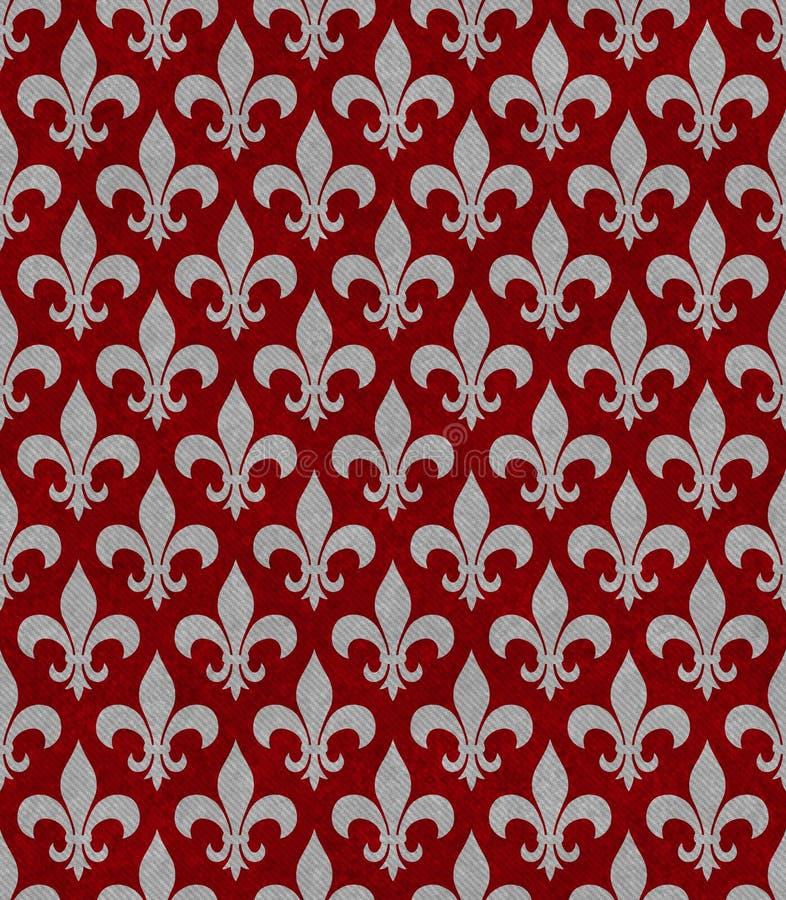 Vermelho e Gray Fleur De Lis Textured Fabric Background fotografia de stock royalty free