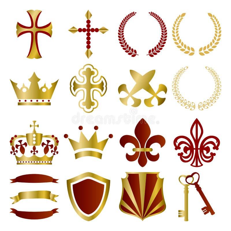Vermelho e ornamento do ouro ajustados ilustração do vetor