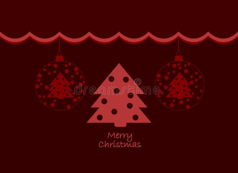 Vermelho e projeto de cartão festivos do Feliz Natal de Borgonha com as árvores nas bolas Cartão elegante do Feliz Natal ilustração do vetor