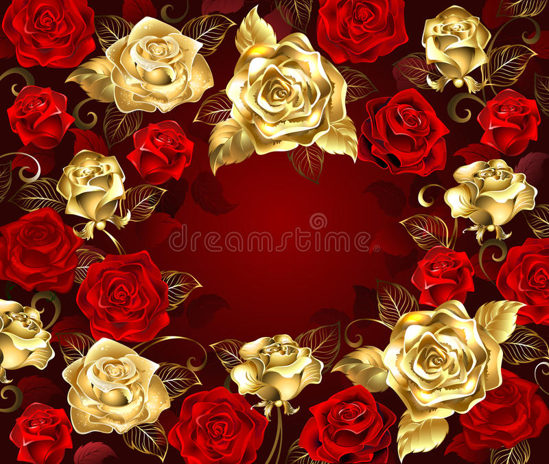Vermelho e rosas do ouro ilustração do vetor