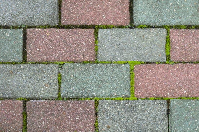 Vermelho e textura cinzenta das pedras de pavimentação fotos de stock royalty free