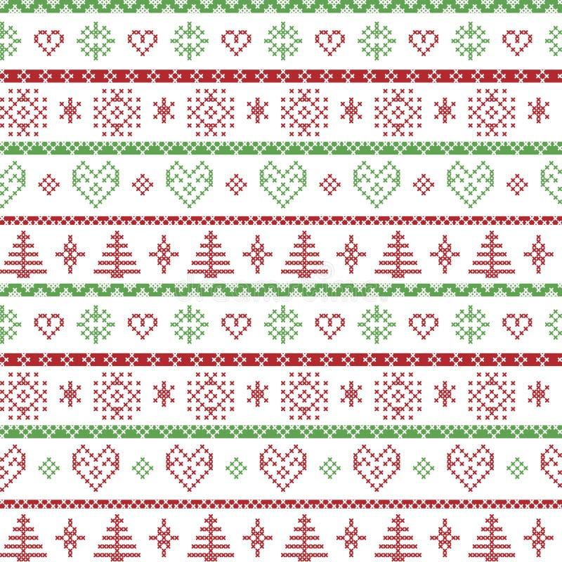 Vermelho e verde no teste padrão nórdico do Natal do fundo branco com flocos de neve e os ornamento decorativos das árvores do xm ilustração royalty free
