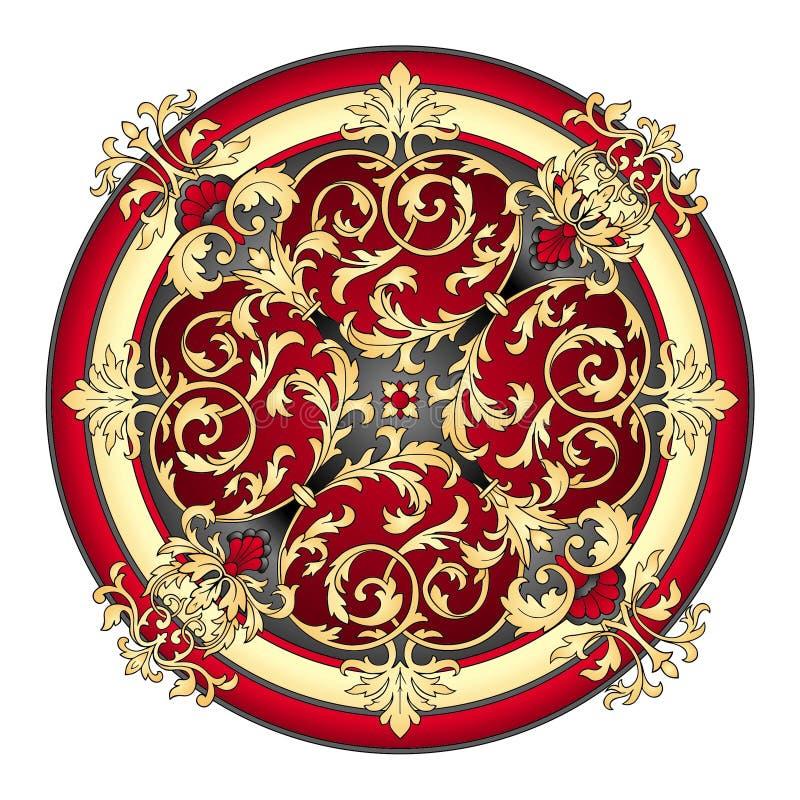 Vermelho e vetor oriental do ornamento do ouro ilustração do vetor