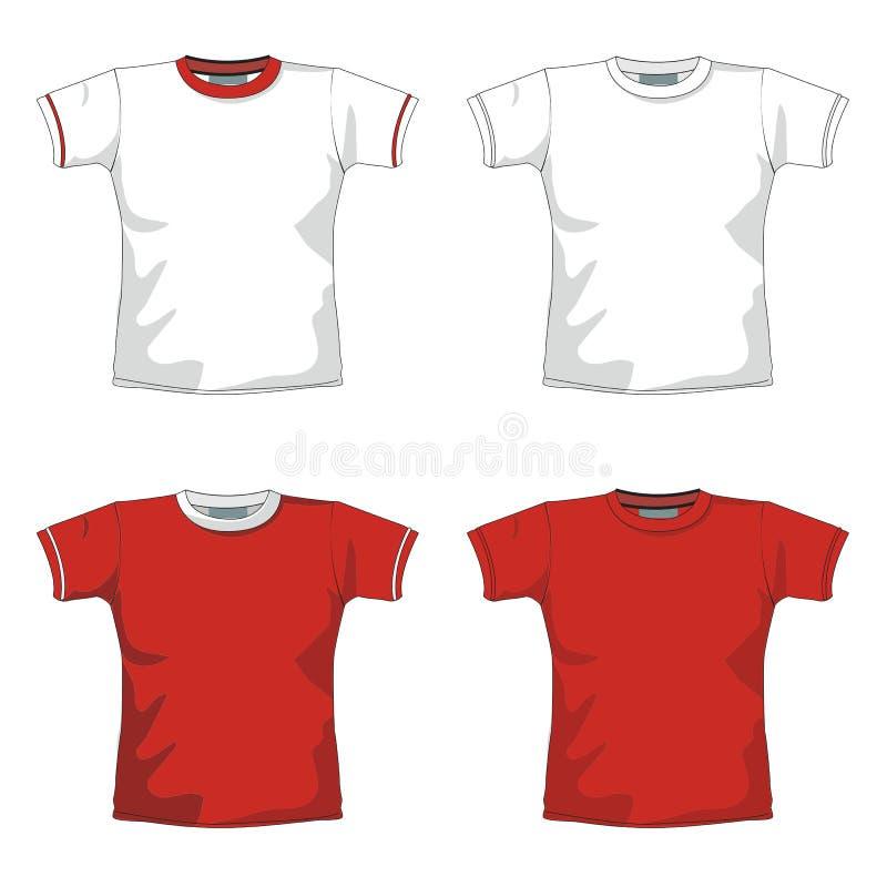 Vermelho em branco do T-SHIRT ilustração stock
