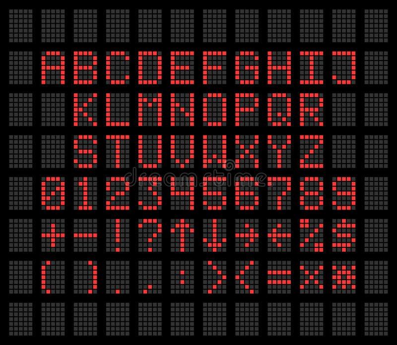 Vermelho em fontes digitais alfabeto e números de um diodo emissor de luz do fundo cinzento ilustração royalty free