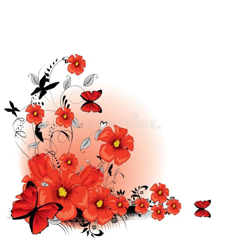 Vermelho floral do fundo ilustração stock