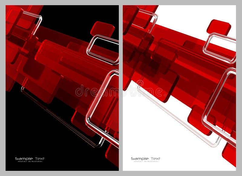 Vermelho, fundo abstrato preto e branco ilustração do vetor