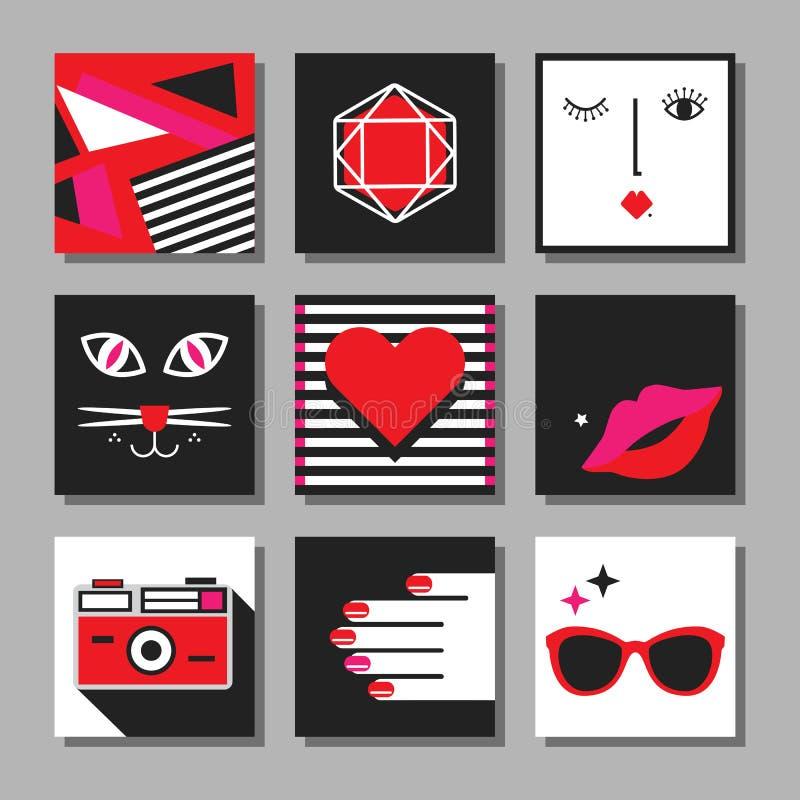 Vermelho, grupo de cartões quadrado mínimo do pop art liso preto e branco ilustração do vetor