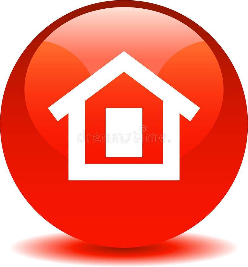 Vermelho home do ícone da Web do botão ilustração royalty free