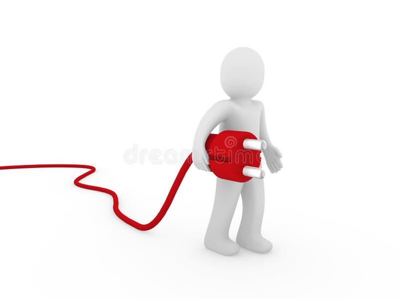 vermelho humano do plugue 3d ilustração stock