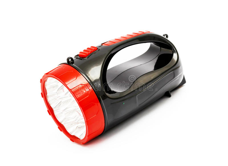 Vermelho - lanterna elétrica preta isolada no fundo branco fotos de stock royalty free