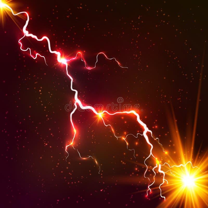 Vermelho que brilha o relâmpago cósmico do vetor do plasma ilustração royalty free