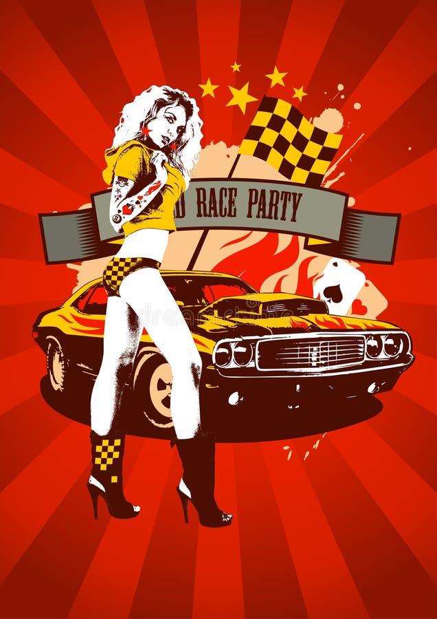 Vermelho retro do projeto do partido da raça do motor ilustração royalty free