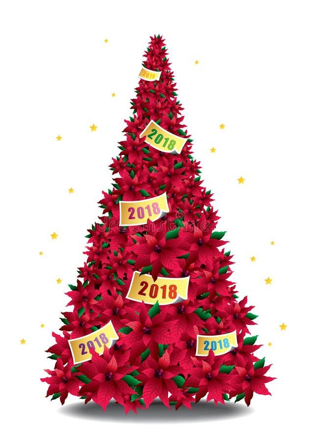 Vermelho romântico 2018 da árvore de Natal ilustração do vetor