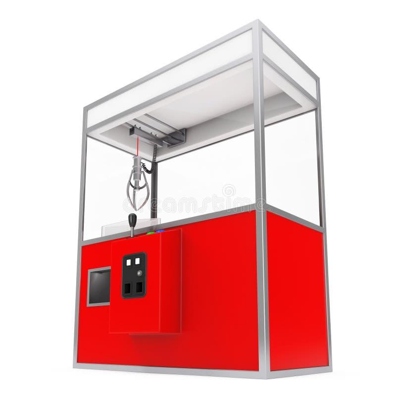 Vermelho vazio Toy Claw Crane Arcade Machine do carnaval rendição 3d ilustração stock