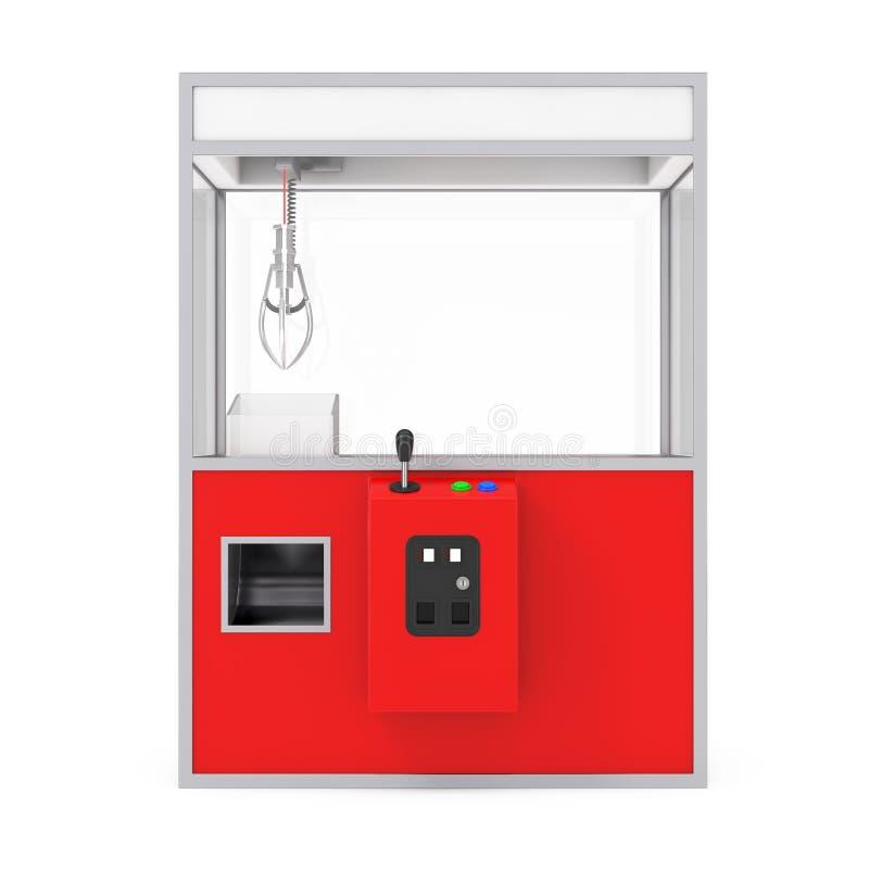 Vermelho vazio Toy Claw Crane Arcade Machine do carnaval rendição 3d ilustração do vetor