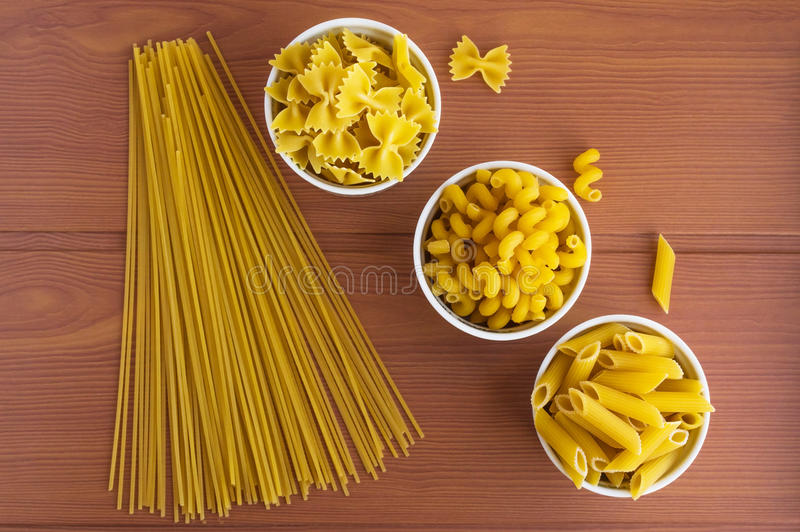 Vermicelli (Pasta). Different kinds. The top view stock photos