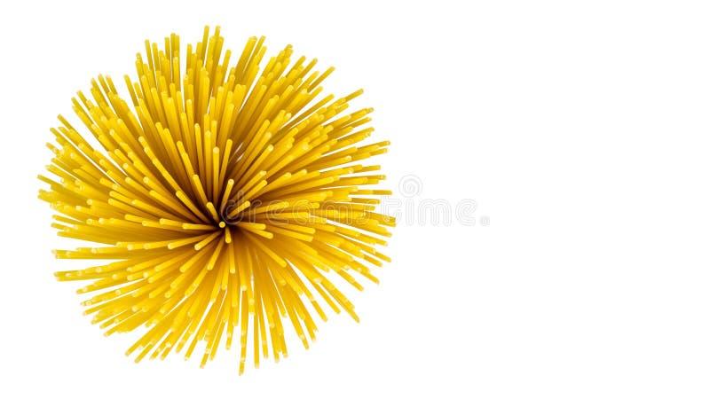 Vermicellispaghetti, deegwaren van durumtarwe op geïsoleerde achtergrond Concept gezond voedsel exemplaarruimte, malplaatje stock foto's