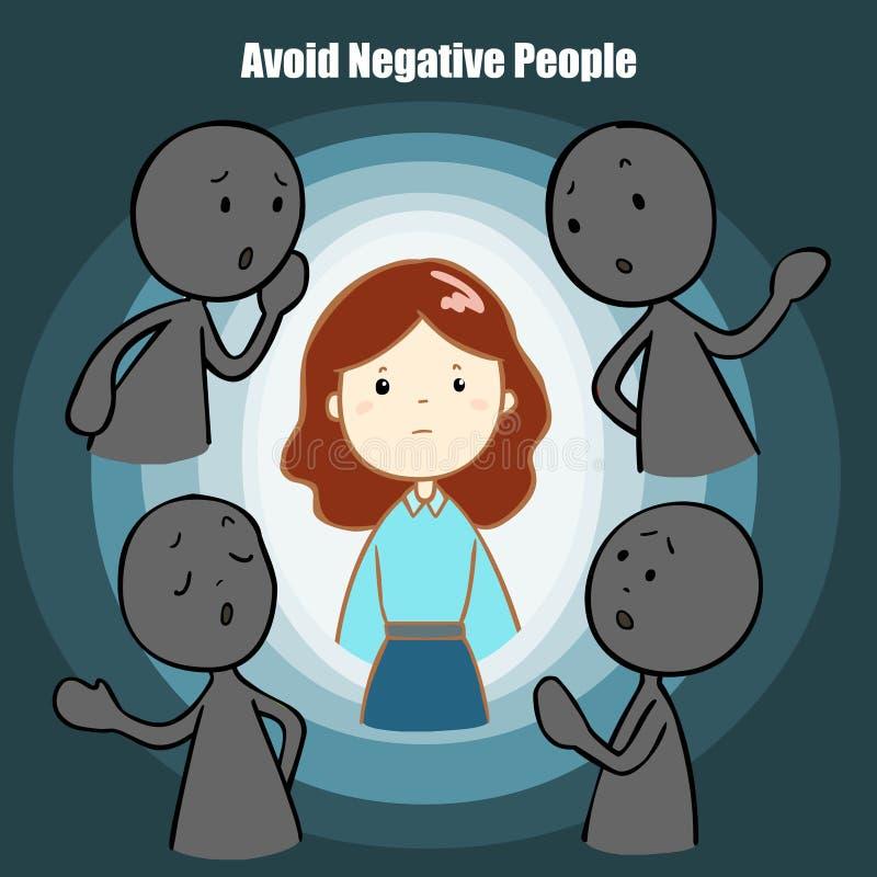 Vermijd de negatieve illustratie van het mensenbeeldverhaal stock illustratie