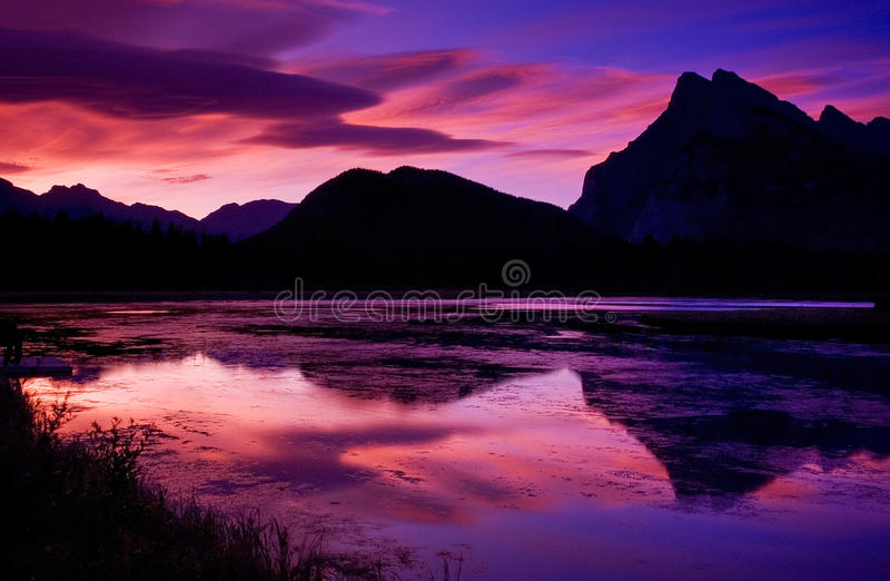 Vermillion Lakes 2. Sunrise over Mt Rundle at the Vermillion Lakes in Banff National Park stock photos