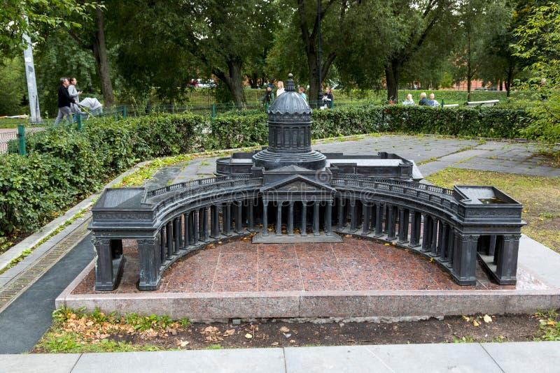 Verminderd exemplaar van de Kazan Kathedraal in Alexander Park in St. Petersburg royalty-vrije stock afbeeldingen