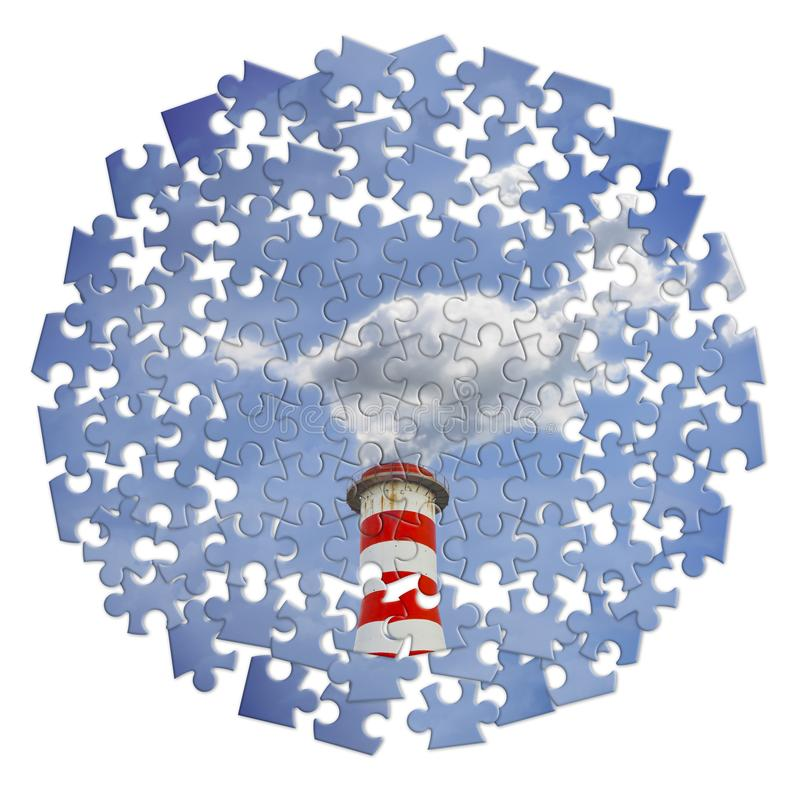 Vermindering van Co2-aanwezigheid in de atmosfeer - het beeld van het puzzelconcept royalty-vrije stock afbeelding