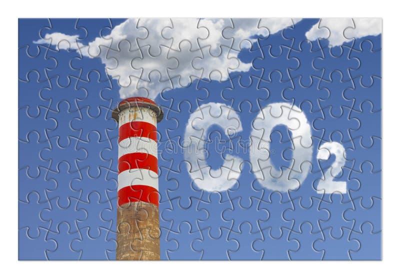 Vermindering van Co2-aanwezigheid in de atmosfeer - het beeld van het puzzelconcept stock afbeeldingen