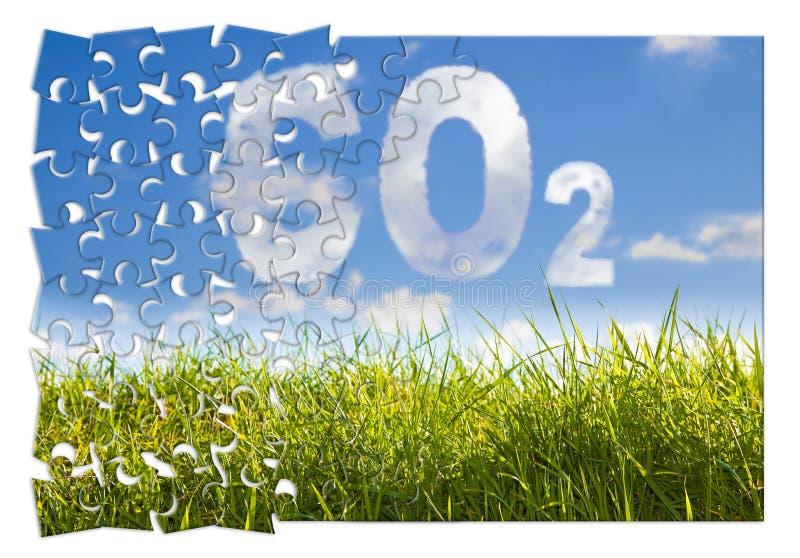 Vermindering van Co2-aanwezigheid in de atmosfeer - het beeld van het puzzelconcept tegen een groen wild gras op hemelachtergrond stock afbeelding