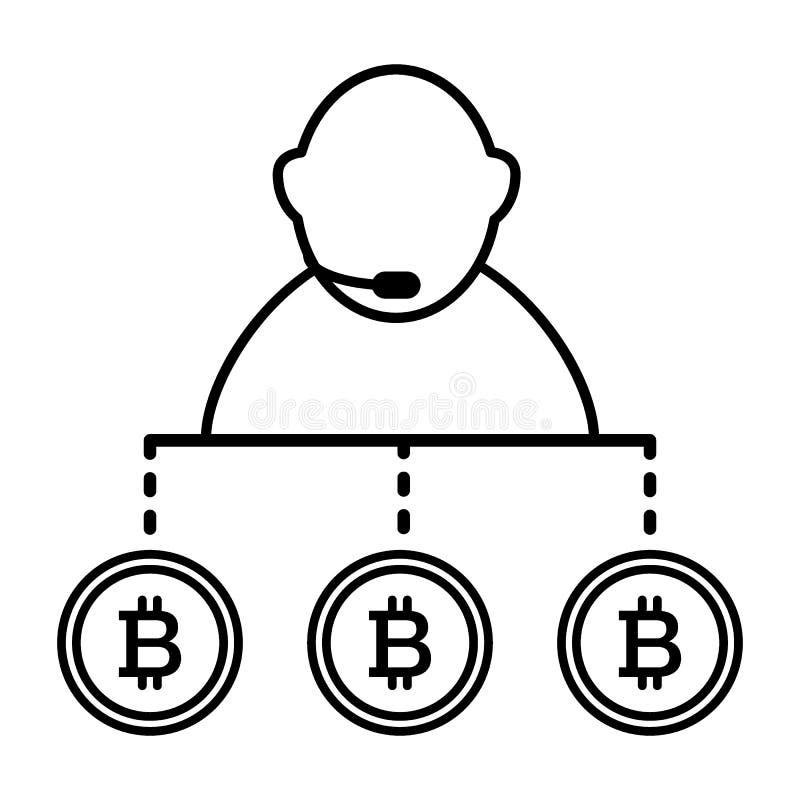 Vermittler, Person, Austausch, bitcoin Linie Ikone Vektorillustration lokalisiert auf Weiß Entwurfsartdesign, entworfen für lizenzfreie abbildung