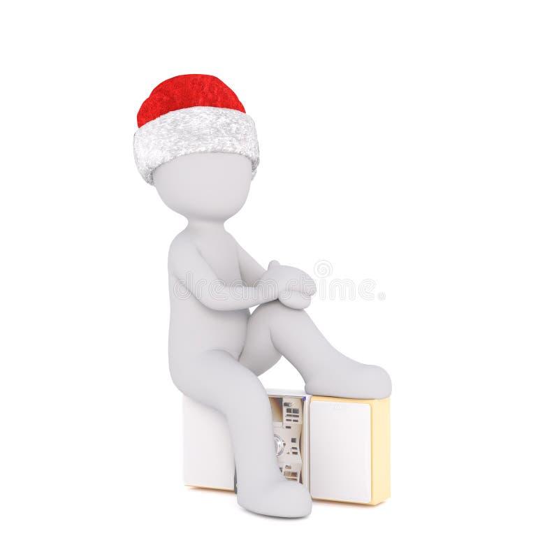 Vermoeid 3D karakter met benen omhoog op radio stock illustratie