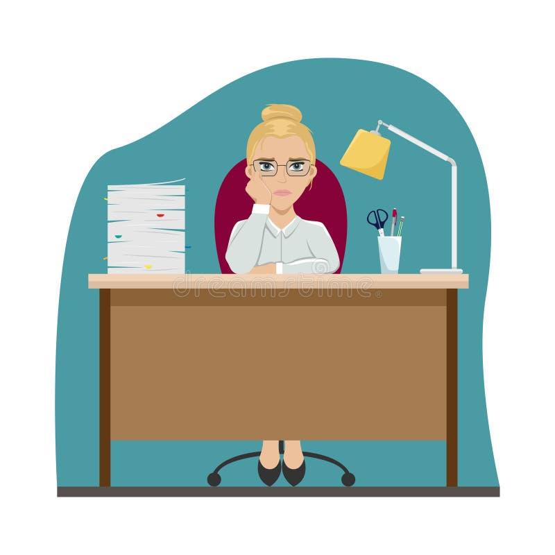 Vermoeid meisje aan het werk bij de bureaulijst Op groene achtergrond verveling Vlakke vectorillustratie vector illustratie