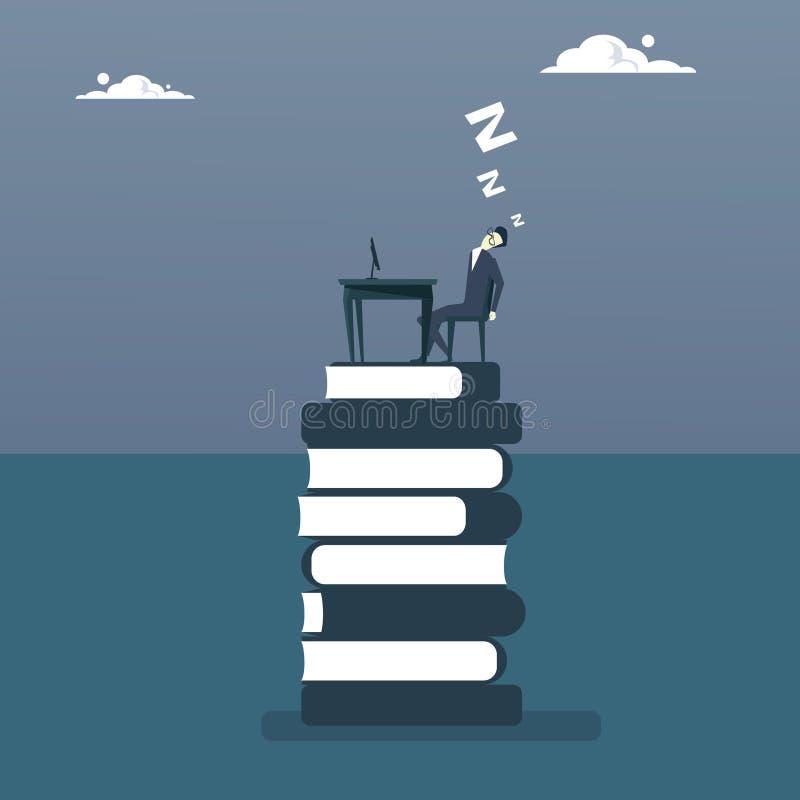 Vermoeide Bedrijfsmensenslaap die aan Computerzitting bij de Student Education Concept werken van de Boekenstapel stock illustratie