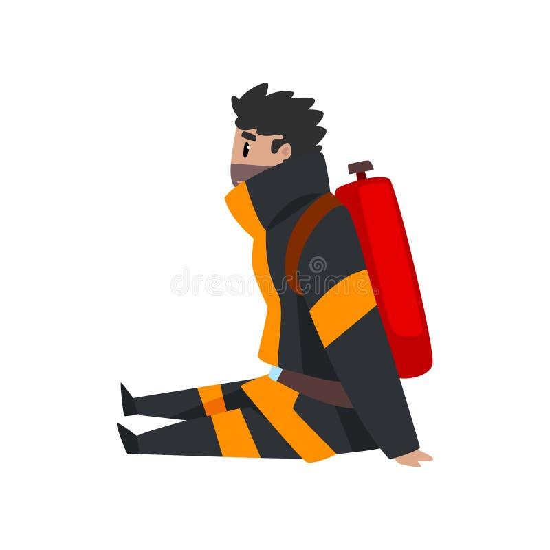 Vermoeide brandweermanzitting op de vloer, brandbestrijderskarakter in eenvormig bij het werk vectorillustratie op een witte acht royalty-vrije illustratie