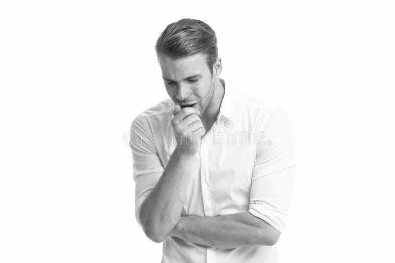 vermoeide die mens op wit wordt ge?soleerd Zaken Mannelijke manier Zakenman Gezichts zorg Manierportret van de mens Gebaarde mens royalty-vrije stock foto's