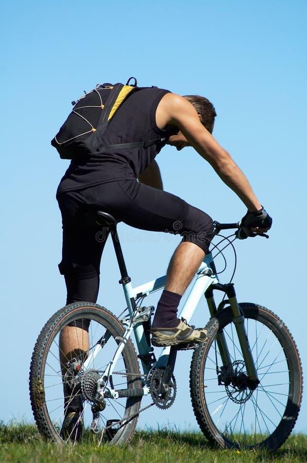 Vermoeide fietser royalty-vrije stock fotografie