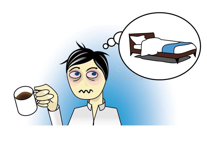 Vermoeide mens met koffie vector illustratie