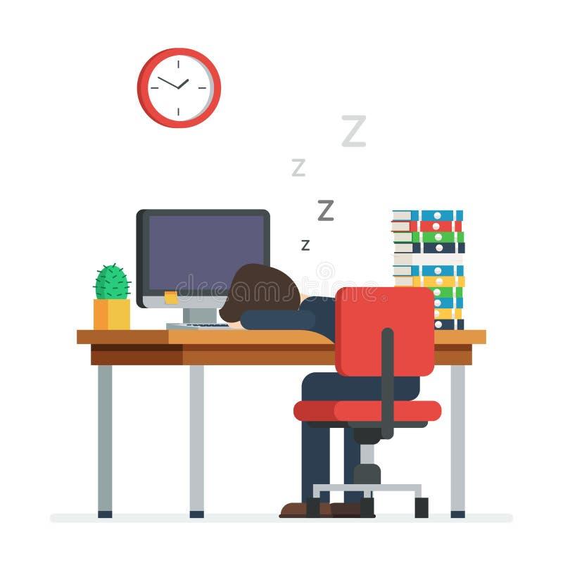 Vermoeide mensenslaap in het bureau royalty-vrije illustratie