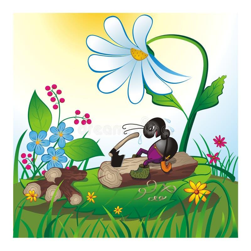 Vermoeide mier het hakken brandhout zonnige dag vector illustratie