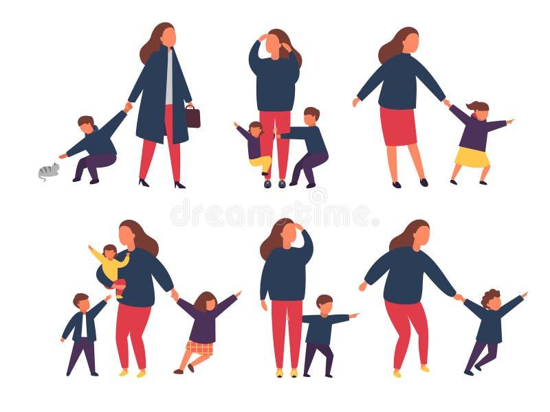 Vermoeide uitgeputte moeder met ongehoorzame jonge geitjes Ouders met kinderen Vector illustratie stock illustratie