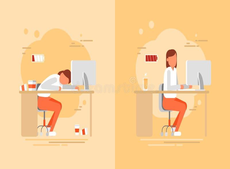 Vermoeide vrouw aan het werk, vector vlakke illustratie stock illustratie