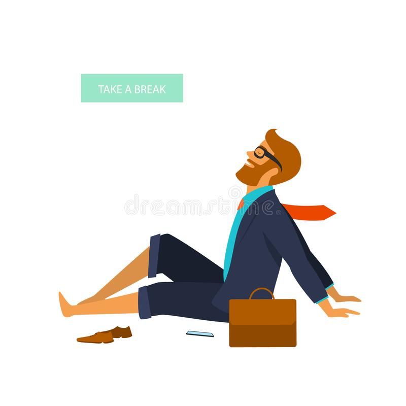 Vermoeide zakenman die een onderbreking en een het koelen geïsoleerde vectorillustratie nemen royalty-vrije illustratie