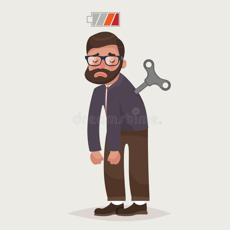 Vermoeide zakenman met Uurwerk zeer belangrijke en lege batterij De gebrekenergie om het werk te doen vector illustratie