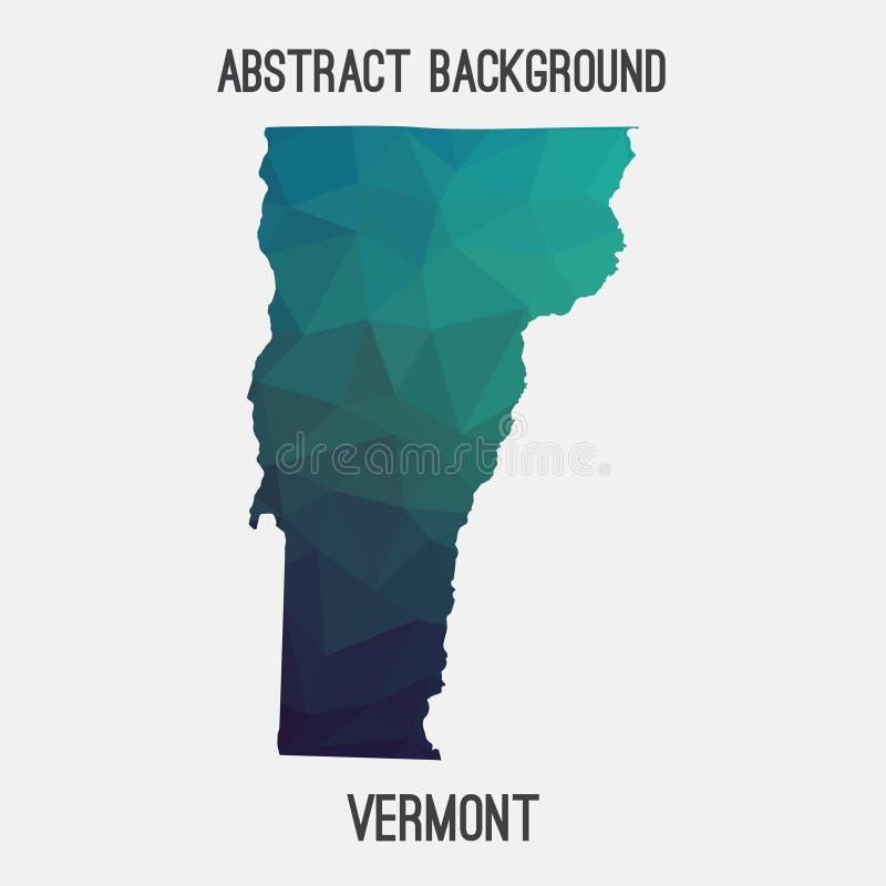 Vermont översikt i geometriskt polygonal, mosaikstil royaltyfri illustrationer