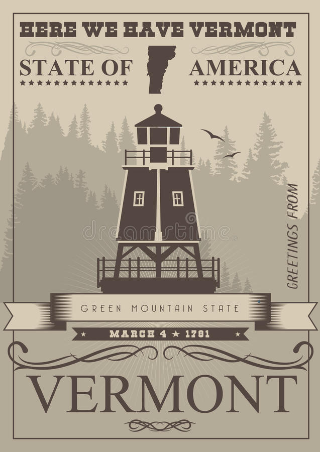 Vermont american poster. USA travel illustration. United States of America card. Mono color style stock illustration