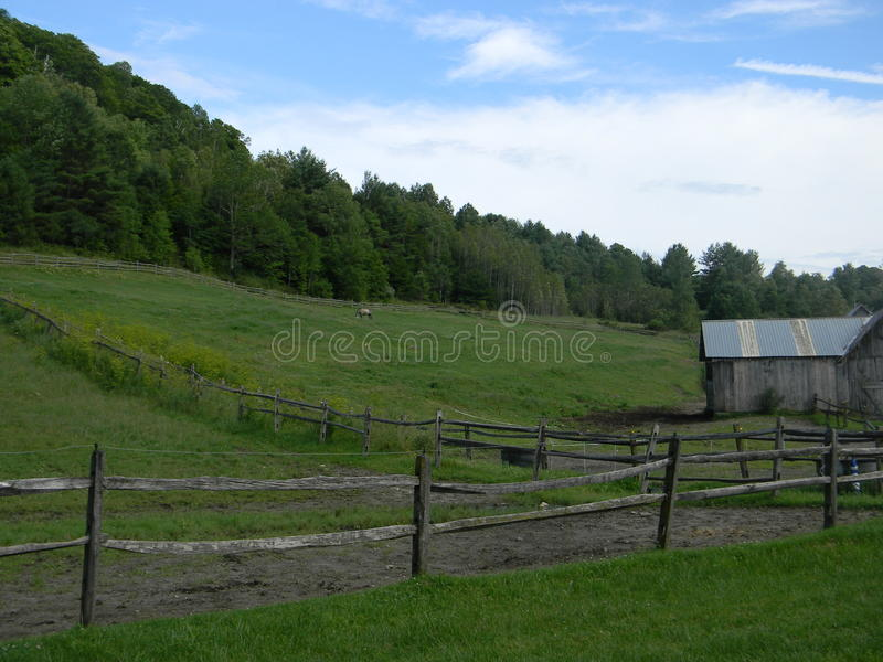 Vermont barn and pasture stock image