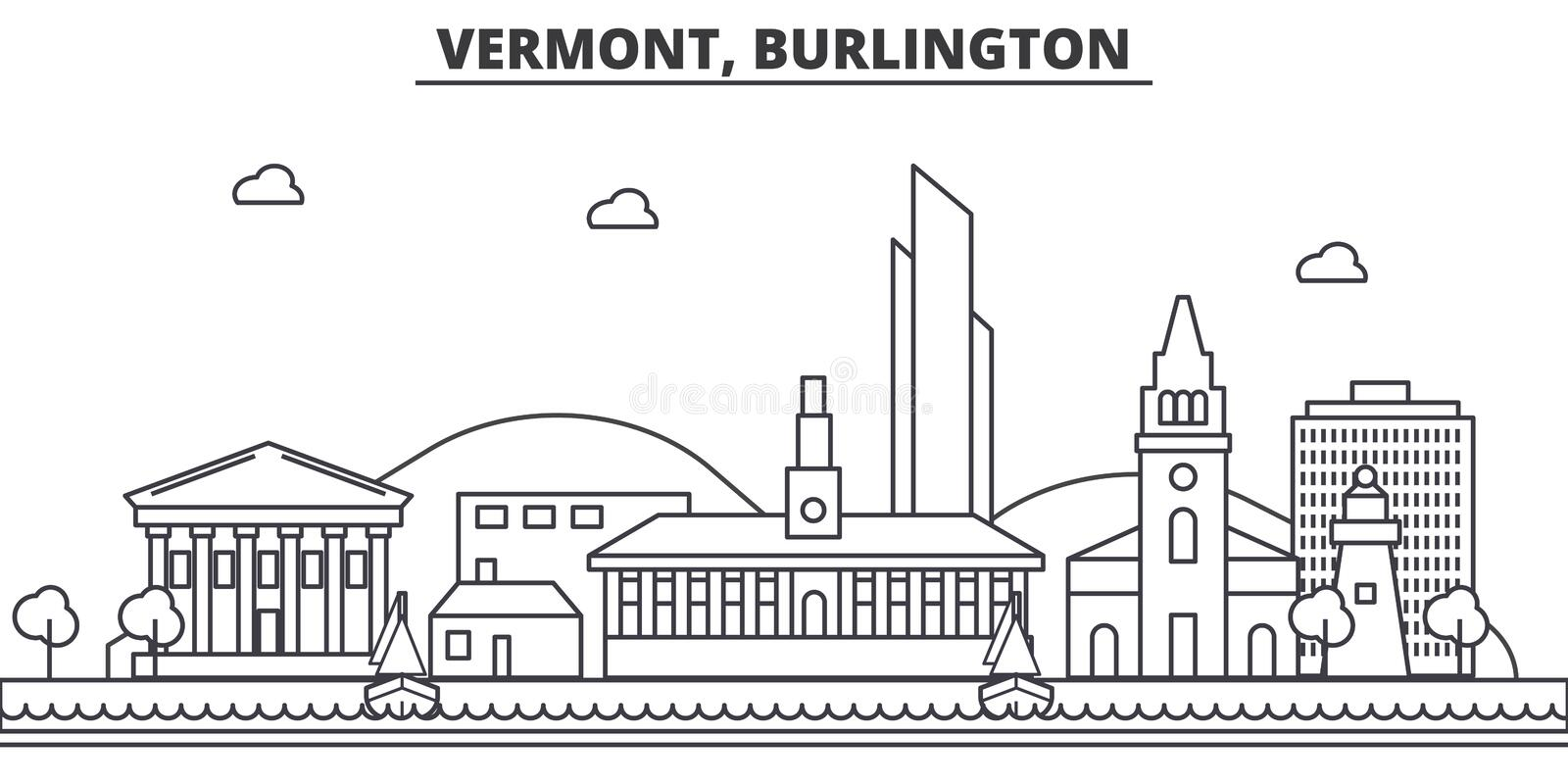 Vermont, Burlington architecture line skyline illustration. Linear vector cityscape with famous landmarks, city sights stock illustration