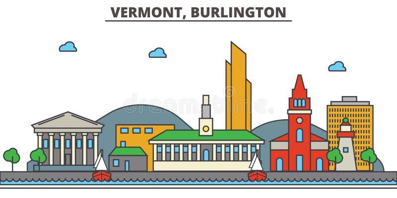 Vermont, Burlington De Horizon van de stad vector illustratie
